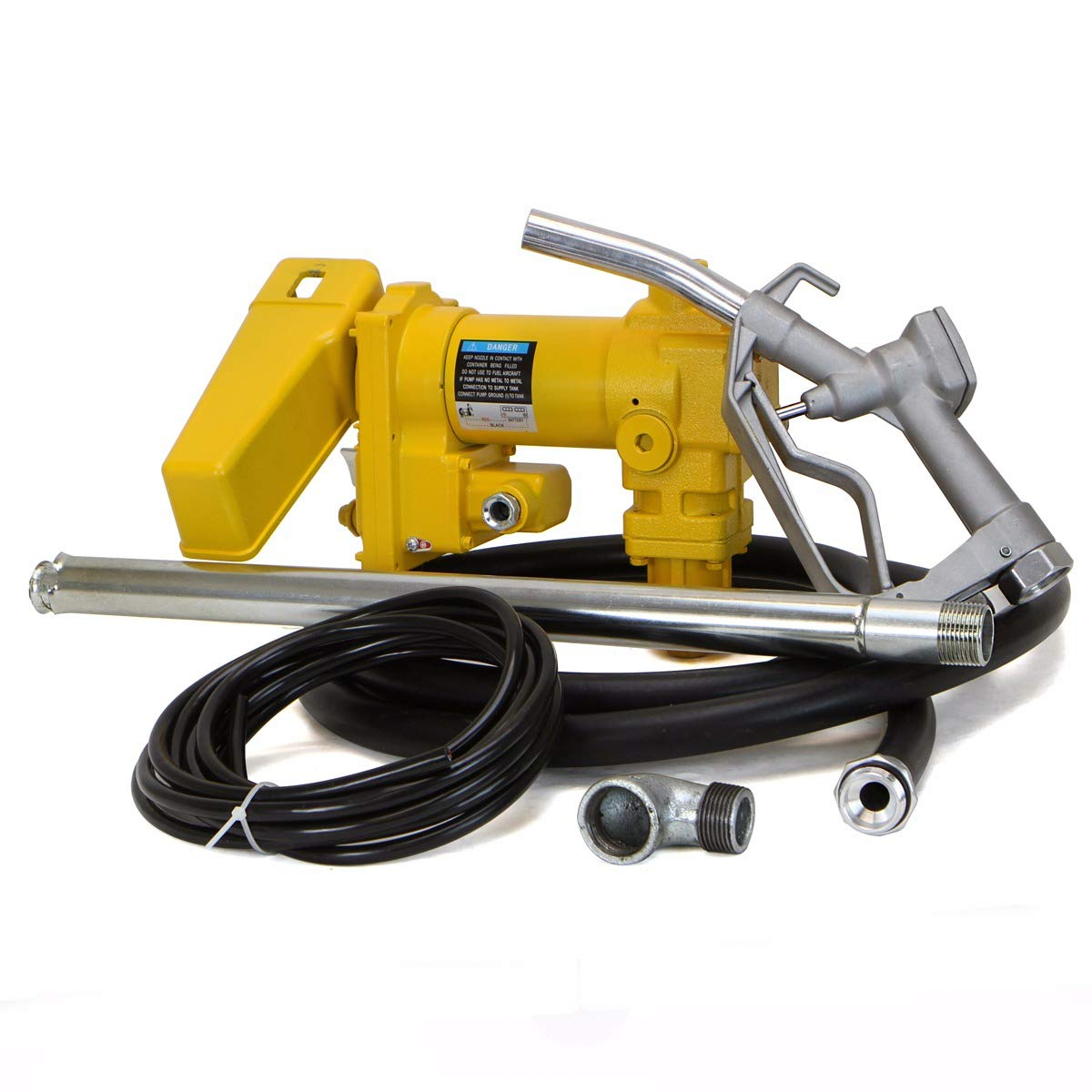 XtremepowerUS 12 Volt DC 20GPM Gasoline Fuel Transfer Pump Self-Priming Kerosene Extractor Pump with Nozzle Kit and Hose, Yellow