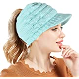Tacobear Mujer Sombreros de Invierno Cola de Caballo Gorro Gorro de Punto y  el Agujero Mujer e4eb180620df