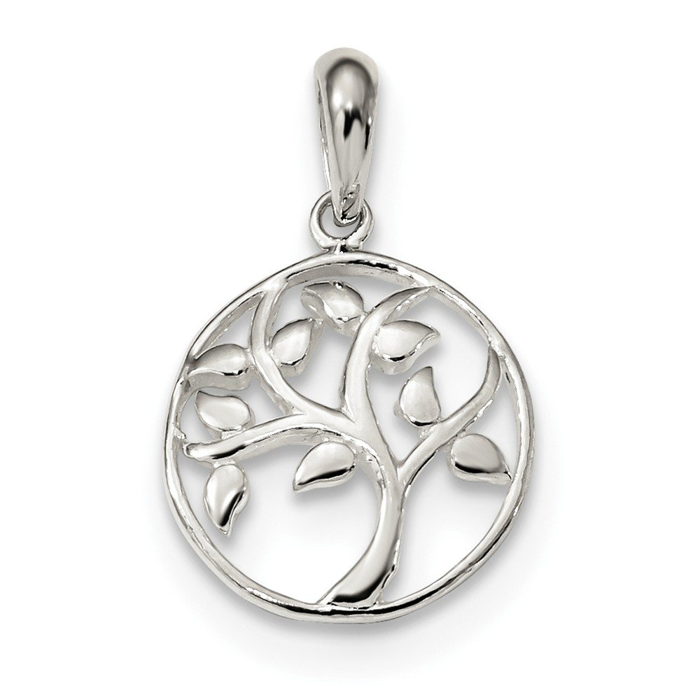 Sterling Silver Themed Jewelry Pendants /& Charms Solid 15.6 mm 24 mm Polished Tree Pendant