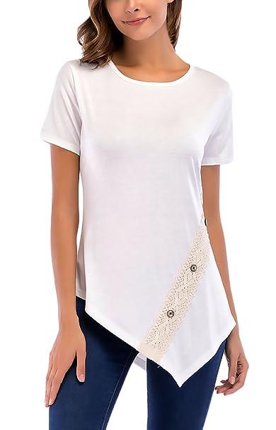 78f2c6449af1 T-Shirt Donna Estive Eleganti Manica Corta Rotondo Collo Slim Fit con  Fashionable Completi Bottoni in Pizzo Irregolare Asimmetrico Moda Casual  Magliette ...