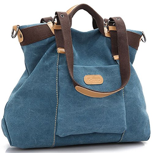 Z-joyee Women Shoulder Bags Casual Vintage Hobo Canvas Handbags Top Handle Tote Crossbody Shopping Bags Blue