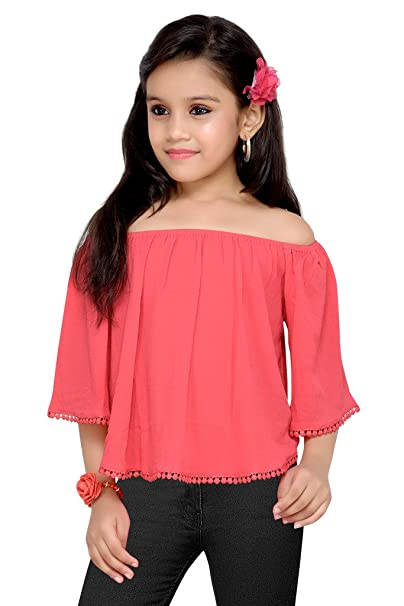 CORDATE GIRLS OFF SHOULDER CROP TOP WITH LACE AT SLEEVE   BOTTOM (COLOUR    CRIMSON 7bb857888
