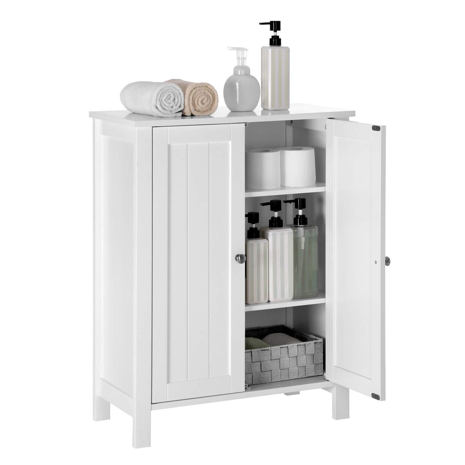 VASAGLE Bathroom Floor Storage Cabinet with Double Door ...