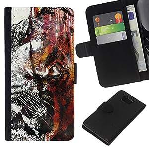 JackGot ( Tiger Graffiti ) Samsung ALPHA G850 la tarjeta de Crédito Slots PU Funda de cuero Monedero caso cubierta de piel