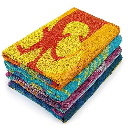 KAUFMAN - Terry Beach & Pool Towel 4-Pack of Assorted Colors - 30in x 60in - Beach Towel Set