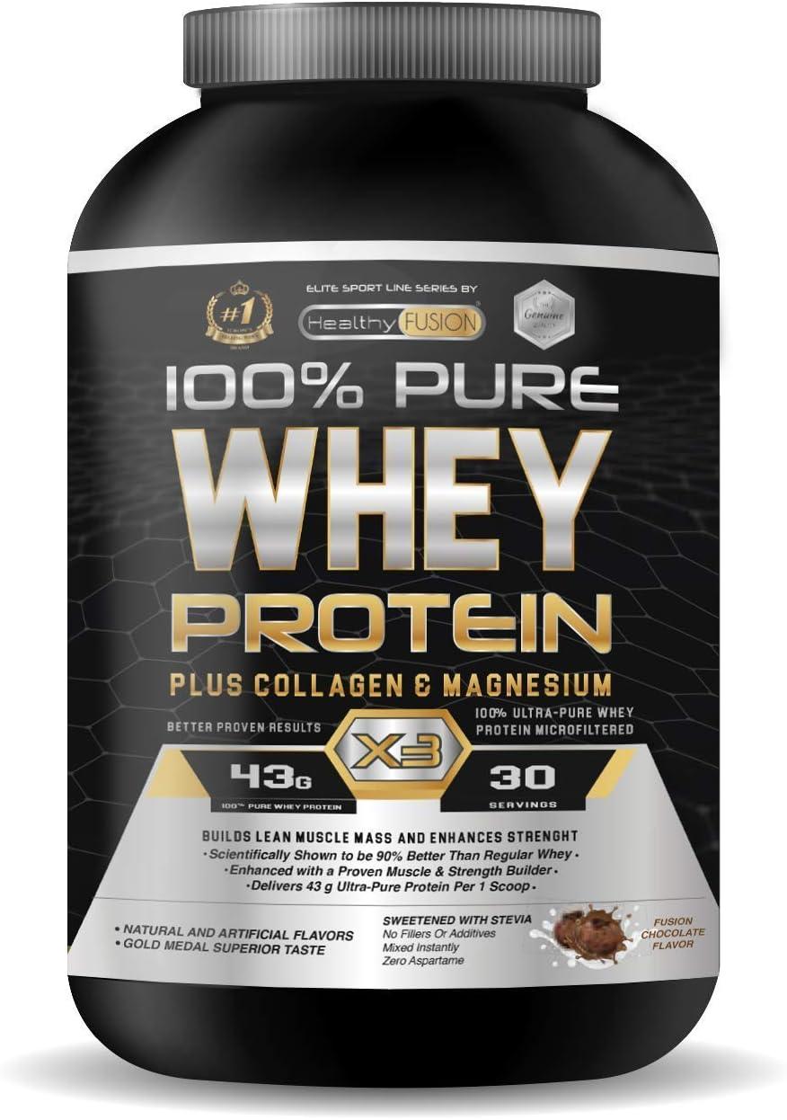 Whey Protein   Proteina whey pura con colágeno + magnesio   Tonifica y aumenta la masa muscular   Protege músculos y ayuda a la recuperación de los tejidos fibrosos   1000g de proteína sabor chocolate