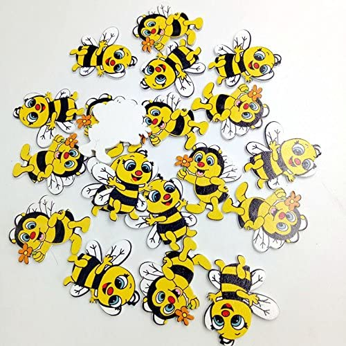Naliovker New 20 Pieces Wood Shapes Bee Embellishments for Scrapbooking Crafts Decorative Buttons Flatback Card Making Decoration Gift