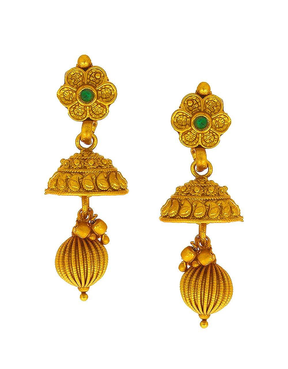 Anuradha Art Gold Finish Studded Sparkling Stone Traditional Earrings For Women//Girls