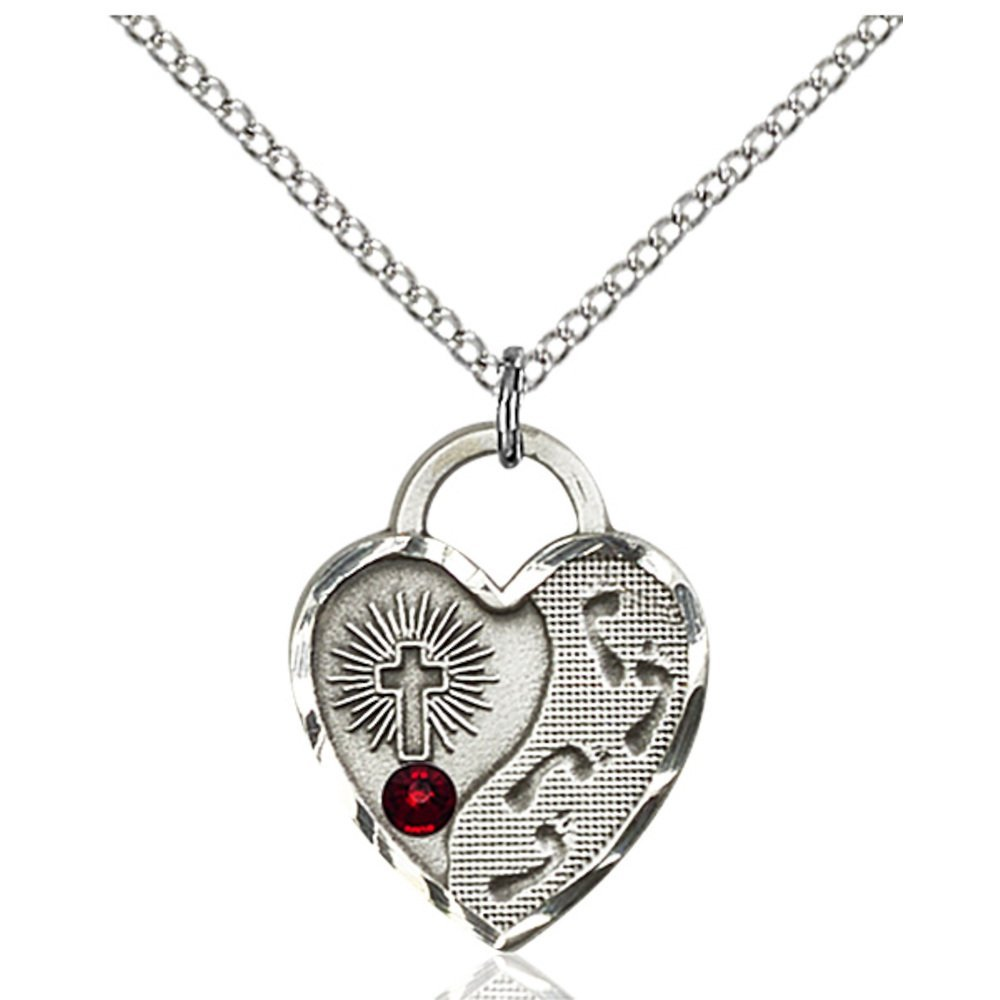 Sterling Silver Footprints Heart Pendant with 3mm January Red Swarovski Crystal 3/4 x 5/8 inches with Lite Curb Chain Bliss Manufacturing 3207SS-STN1/18SS