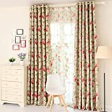 Cheap LELVA European-style Rose Floral Thermal Insulated Blackout Grommet Curtain Panel Room Darkening Drapes Package of 2 Piece (W37″ X L84″)