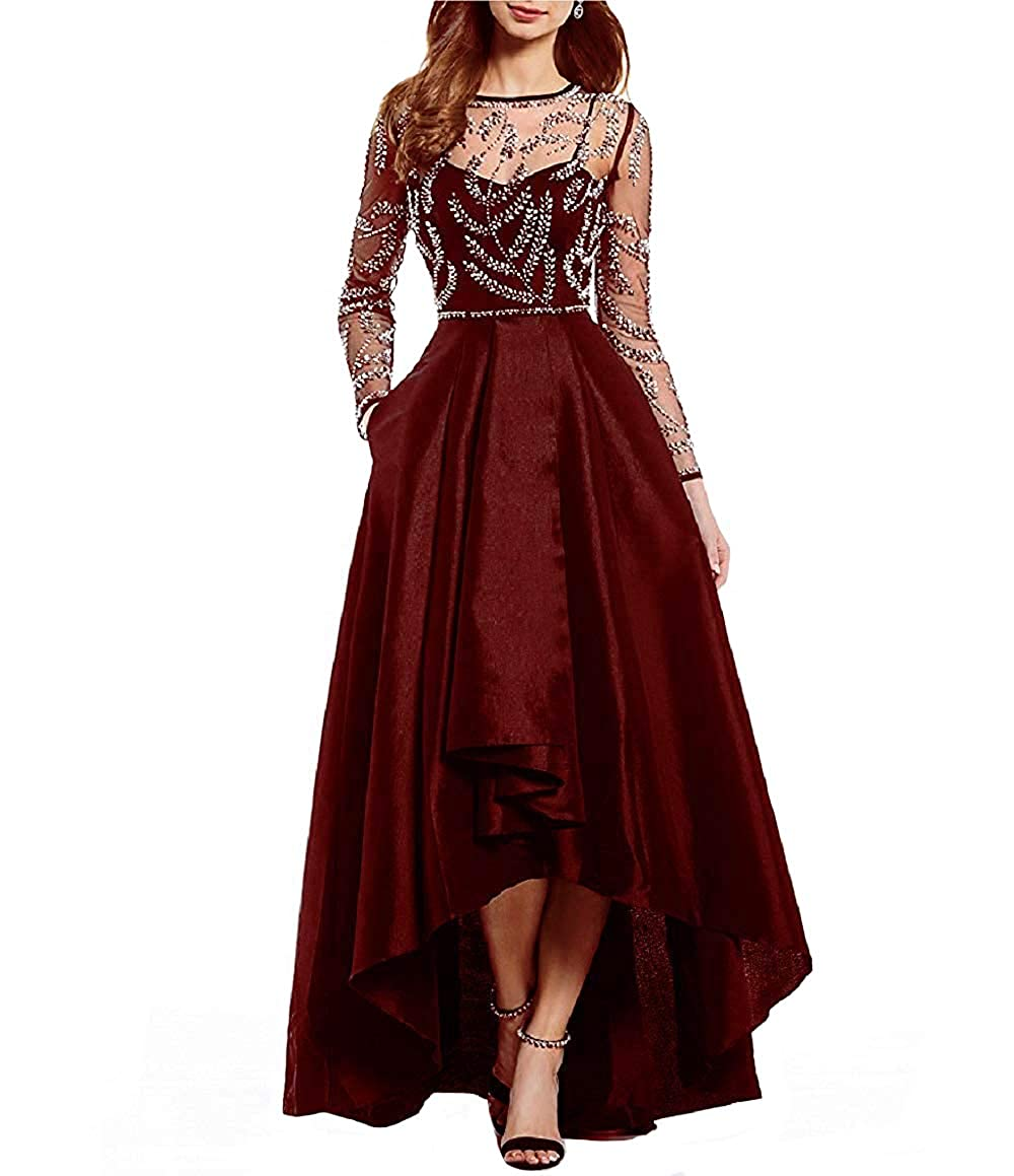 Burgundy JINGDRESS Jewel Neck High Low Satin Prom Evening Dress Illusion Long Sleeve Beaded Wedding Party Dress for Women