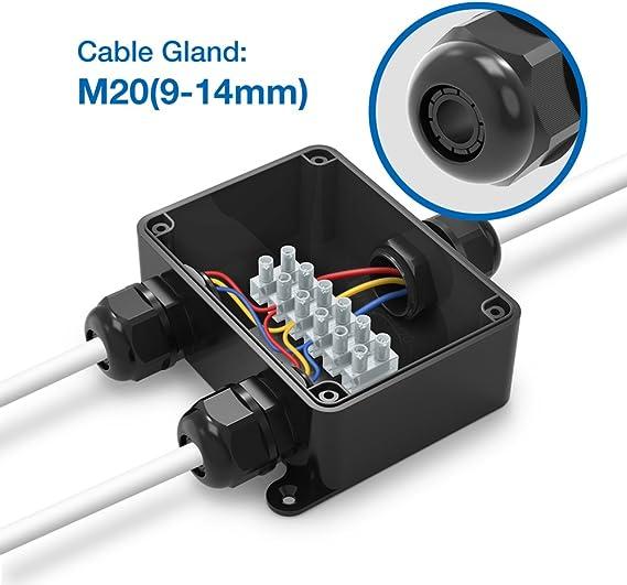 Noir /électrique externe Coupler M20 presse-/étoupe 9 mm-14 mm ABS + PVC doux 3 voies Bo/îte de jonction connecteur d/éclairage IP66 /étanche Bo/îte de d/érivation connecteur de c/âble