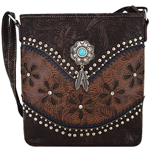 Western Tooled Leather Purse - Western Style Tooled Leather Cross Body Handbags Concealed Carry Purse Women Country Single Shoulder Bag (Coffee)