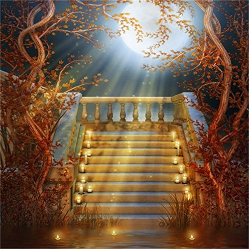 Lfeey 5x5ft Fall Garden Moon Night Backdrop Stairway Candles Autumn Vines Leaves Photography Background Halloween Festival Photo Studio Props Vinyl Banner]()