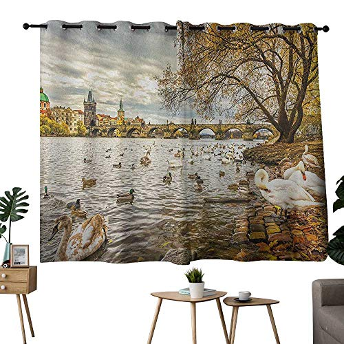 NUOMANAN Pattern Curtains Landscape,Prague Charles Bridge and Old Town Czech Republic Riverside Scenic View with Swans, Gold Grey,Insulating Room Darkening Blackout Drapes for Bedroom 42