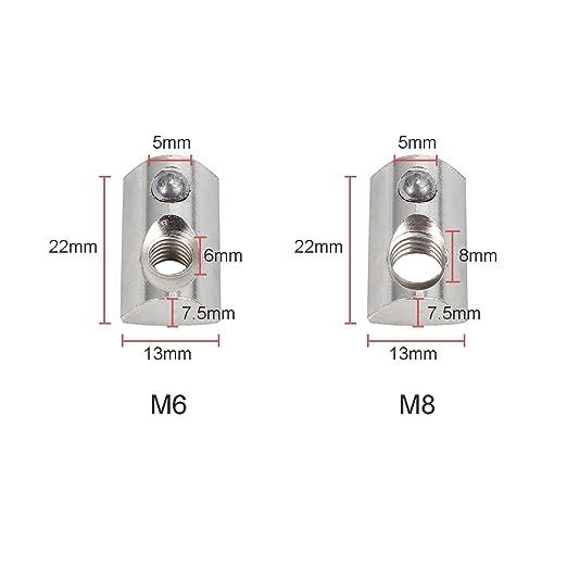 Aluprofil Profil 100×Nutensteine mit Kugel Nut8 Schrauben Gewinde M6 Nutensteine
