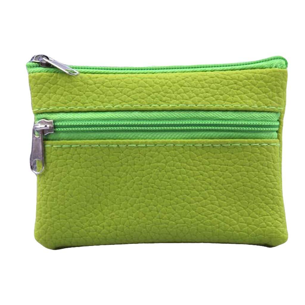 Copercn Women Leather Multifunction Portable Coin Pouch Zip Mini Purse Wallet Double Zipper Opening