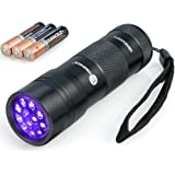 Black Light, TaoTronics UV Flashlights, Blacklight, 12 Ultraviolet Led Flashlight with Free AAA Duracell Batteries, Pets Urine and Stains Detector