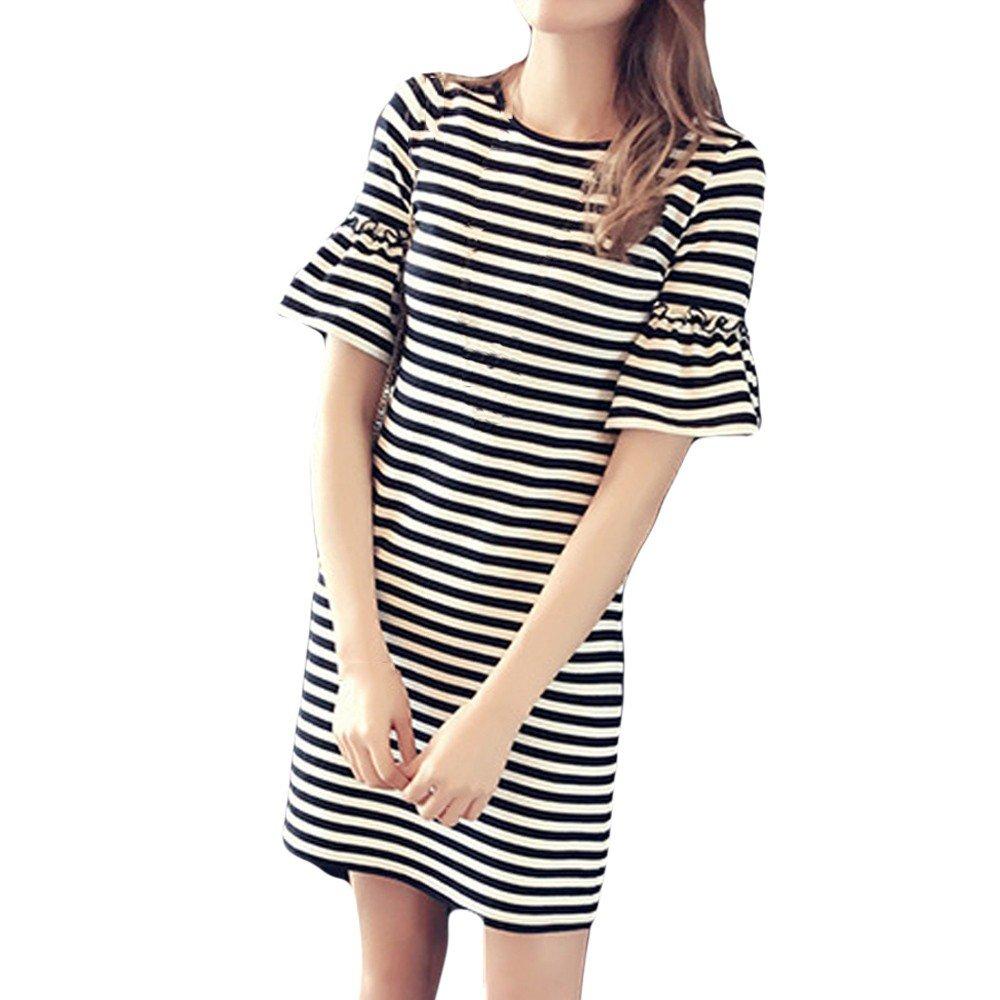 Hengshikeji Women's Dress Fashion Ladies Korean Casual Short Sleeve Stripe Print Dress Dinner Sexy Flare Sleeve Summer Dress