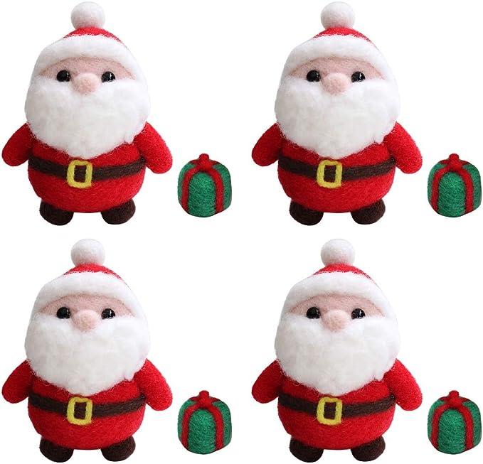 Prettyia 2X Lovely Christmas Cat Santa Clause Needle Felting Kit Handmade Animal Doll Needle Felting Wool Felting Kit Non Finished DIY Handcraft Material Set