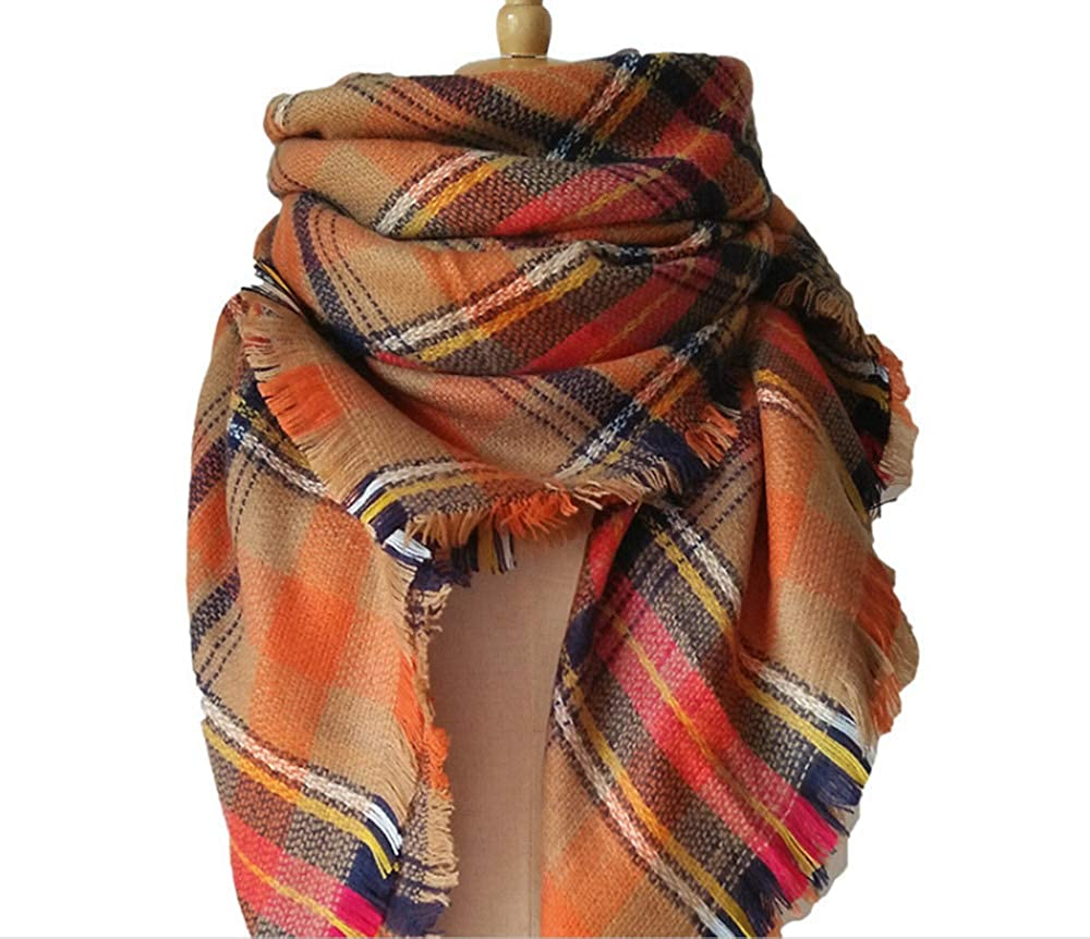 AVmoue Europe and the United States autumn winter imitation cashmere double-sided colorful grid scarves scarves scarves air conditioning shawls