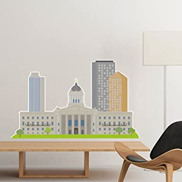 Canada Landmark And City Sketch Watercolor Buildings Cartoon Fashion Style Colorful Pattern Removable Wall Sticker Art