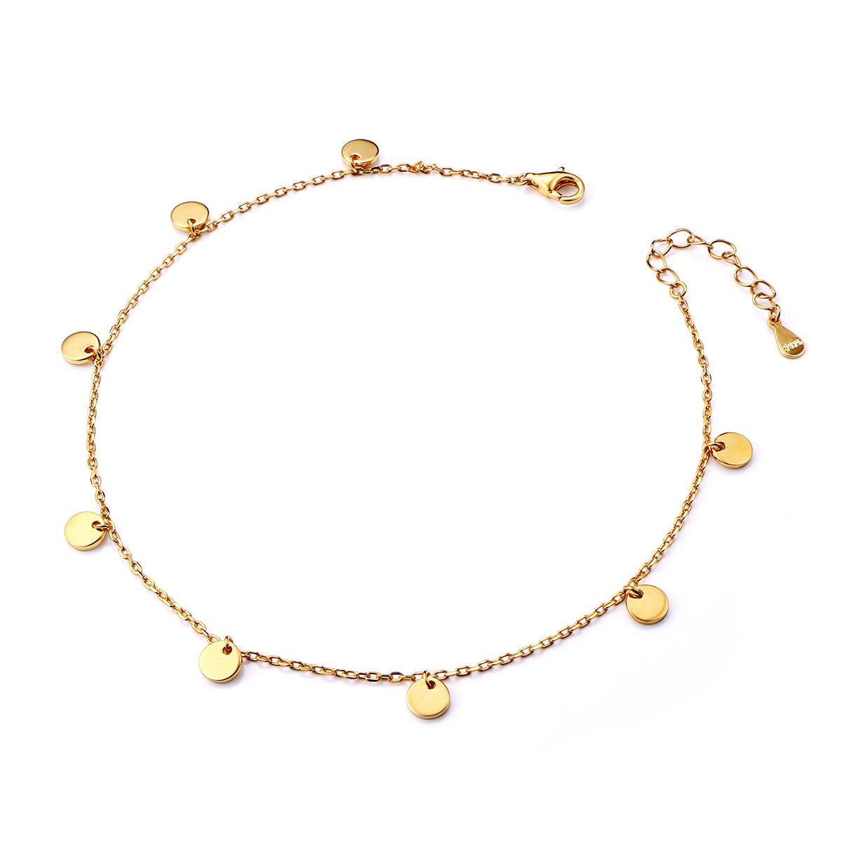 SILVER MOUNTAIN Boho Dot Disc Anklet for Women S925 Sterling Silver Adjustable Foot Ankle bracelet Golden