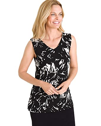 11d76101 Chico's Women's Travelers Classic Convertible Printed Tank Size 0/2 XS (00)  Black