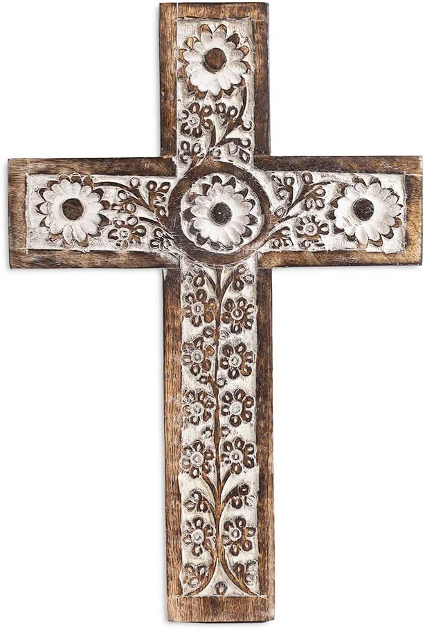 """Wooden Wall Cross Decorative Spiritual Art Sculpture 12"""" Wall Hanging Religious Rustic French Crosses Gift Idea for Birthdays, Easter, Christmas, Weddings, or Any Occasion"""