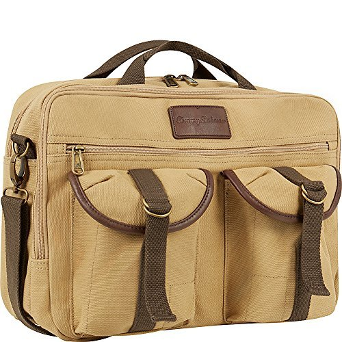 Tommy Bahama Canvas Briefcase With Laptop Compartment  Tan  One Size