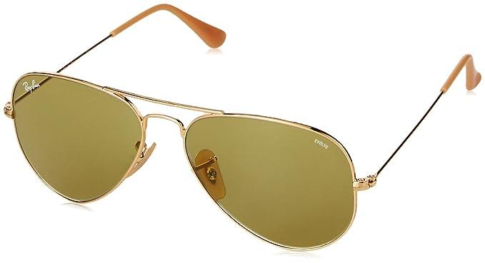 Ray-Ban Aviator Large Metal, Gafas de sol para Hombre, Dorado (Green Photocromic), 55