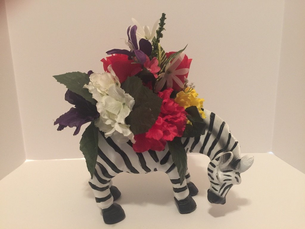 ANIMAL FUN - ZEBRA VASE - PINK, YELLOW, WHITE, GREEN, PURPLE MIXED FLORAL