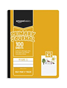 """AmazonBasics Primary Journal 1/2"""" Ruled & Blank Space, 100-Sheet, 9.75"""" x 7.5"""", 3-Pack"""