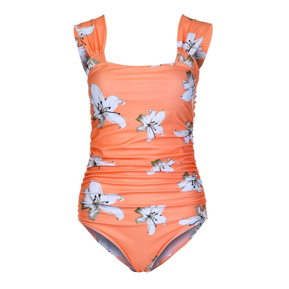 Hot Maternity Women Strapless Shoulder Bikinis Summer Flower Print Swimsuit Comfortable Beachwear Pregnant (Yellow, XL)