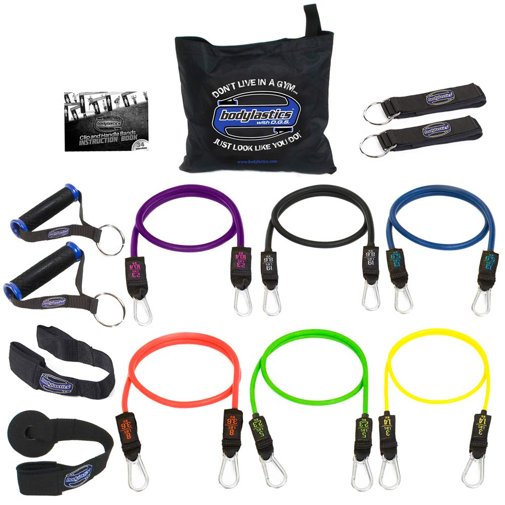 Bodylastics Stackable (14 Pcs) MAX XT Resistance Bands Sets. This Leading Exercise Band System Includes 6 of Our Anti-Snap Exercise Tubes, Heavy Duty Components, and a Travel Bag by Bodylastics (Image #1)