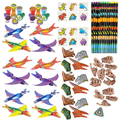 Dino Party Pack Dinosaur Party Supplies - Party Favors, Dino Stampers, Dino Gliders, Squishy Dinosaurs, Dinosaur Tattoos, Galaxy Pencil and Dino Pencil Topper
