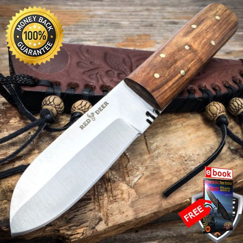 (7'' Mountain Man Western Style Fixed Blade Trade Patch Knife Leather Sheath For Hunting Tactical Camping Cosplay + eBOOK by MOON KNIVES)