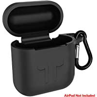 Tizum Apple AirPod Silicone-Shockproof Case Cover with Carabiner Hook (Black)