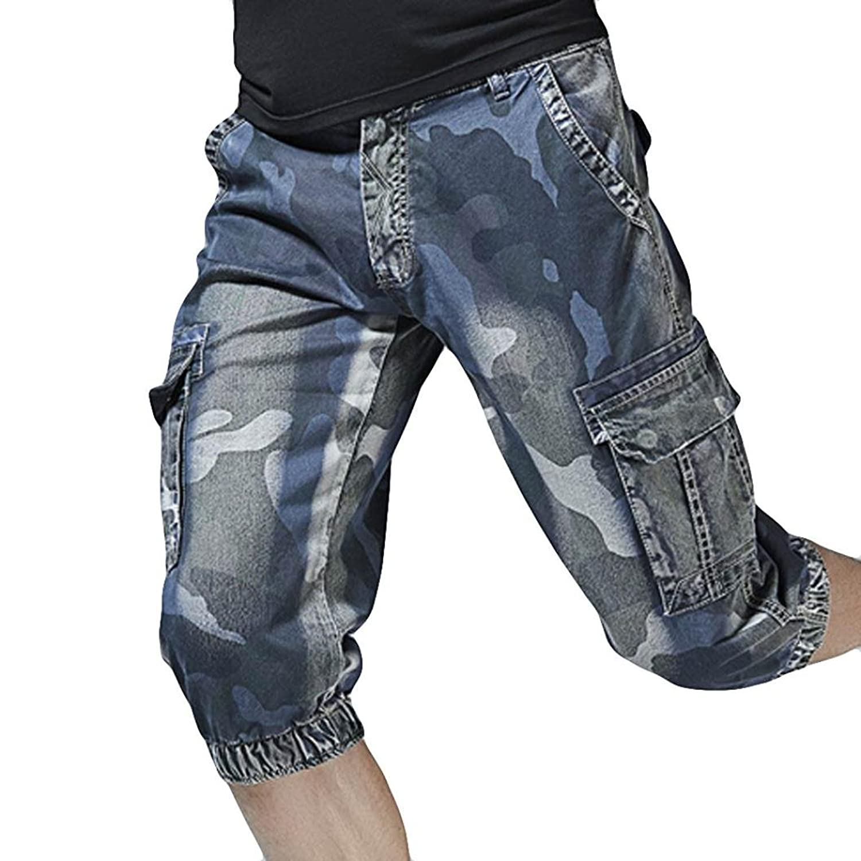 8cf52cc35e ❊Material:Cotton Blend♥♥Men\'s casual loose fit cargo shorts, straight multi -pocket cotton outdoor wear men\'s polyester cotton rip stop shorts men\'s  ...