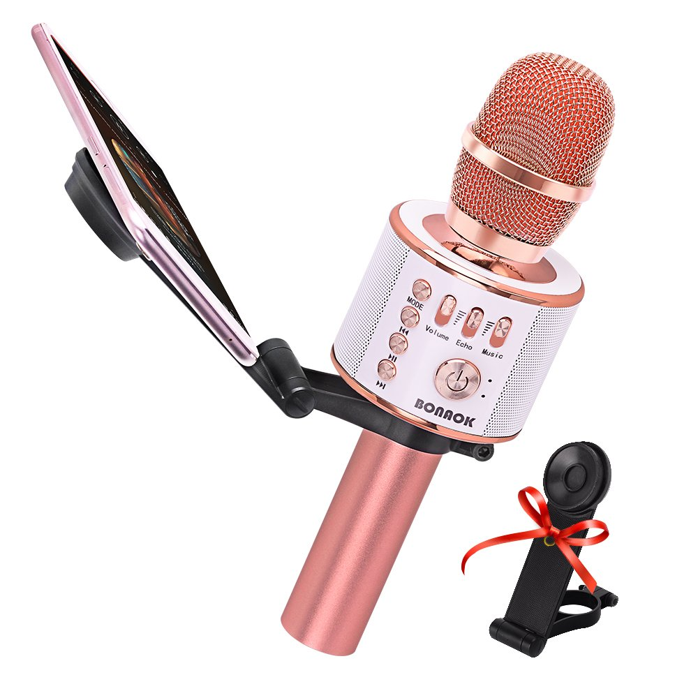 BONAOK Wireless Karaoke Microphone & Free Phone Holder, 4-in 1 Portable Handheld Bluetooth Karaoke Mic Party Machine Speaker for iPhone/Android/PC(Pink) BKBT025ARG