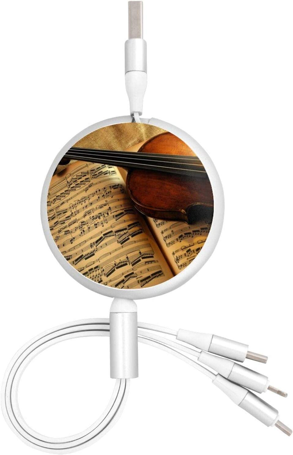 3 in 1 Retractable USB Charger Cable Cord Violin Score Fast Charging Customized USB Charge Cord Compatible with Cell Phones Tablets Universal Use