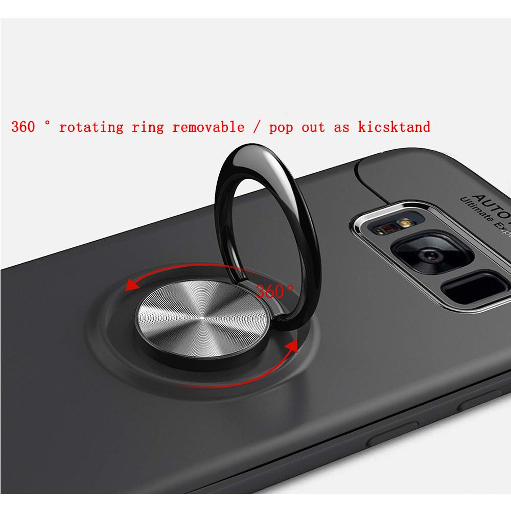 Thin Soft Full Protective 360 Degree Rotating Ring Kickstand Cover with Magnetic Car Mount for Galaxy S8 Plus Avalri Samsung Galaxy S8 Plus Case Blue