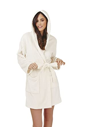 Loungeable, Ladies Luxury Fleece Super Soft Lounge Nightwear Robe, Cream Hooded, Large (