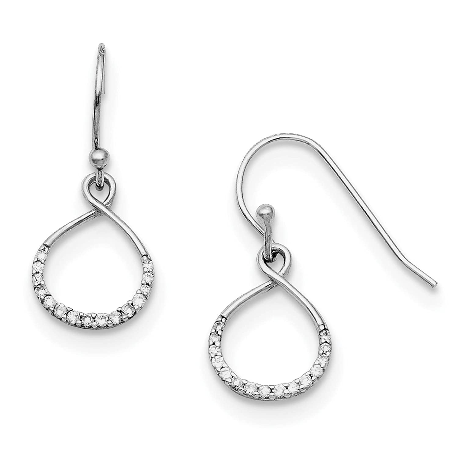 925 Sterling Silver Rhodium-plated Infinity Symbol w//CZ Dangle Earrings