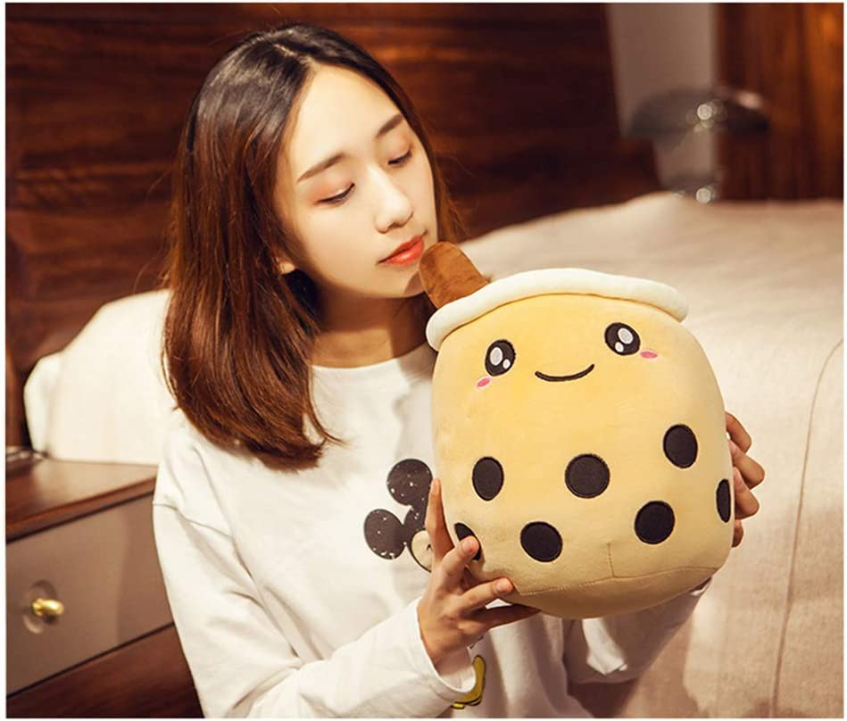 Kids Birthday Gift-Brown HYL World Creative Boba Plush Toy Stuffed Bubble Tea Bottle Hugging Pillow Decoration for Sofa Bed