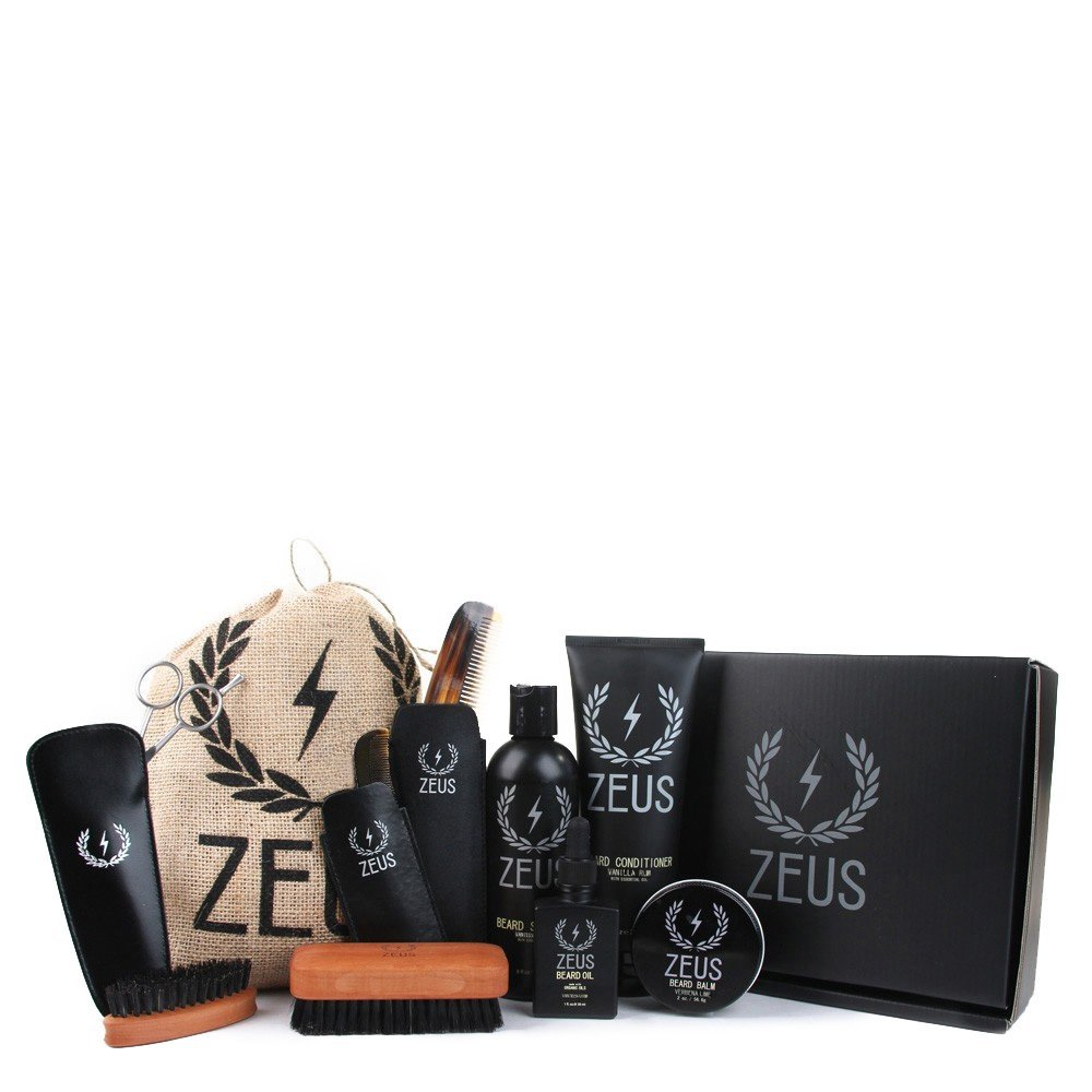 Zeus Ultimate Beard Care Kit Gift Set for Men - The Complete Beard Grooming Kit for Men for Softer, Touchable Beards (Scent: Vanilla Rum)