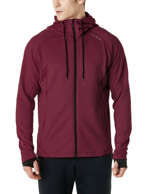 TSLA Men's Performance Active Training Full-Zip Hoodie Jacket, Active Fullzip(mkj03) - Maroon, X-Large by TSLA