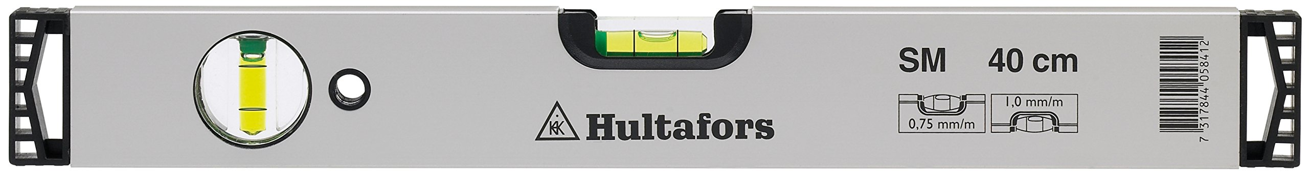 Hultafors SM 40 Aluminium DIY Spirit Level | 2 High Transparent Vials | 40cm