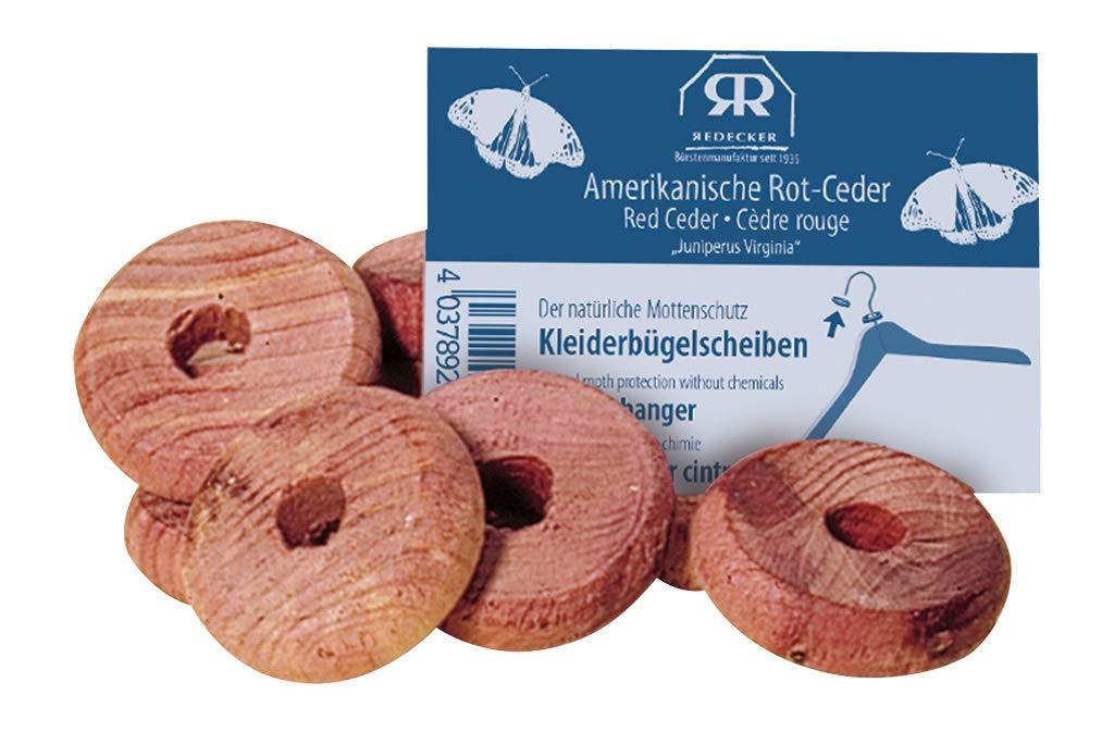 Redecker - Rot Zeder Mottenschutz Kleiderbügelscheiben, 10er Pack 445035
