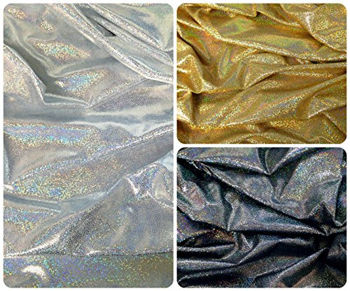 - Holographic Shiny Pebble Foil on Heavy Stretch Nylon Spandex Fabric By the Yard (Gold)